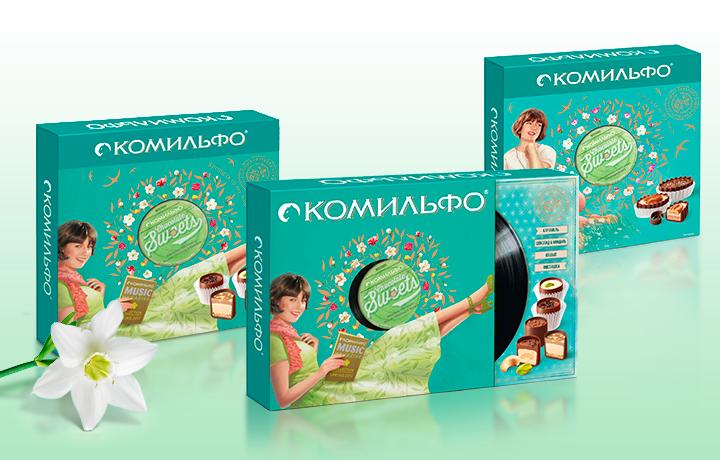 Весенний дизайн шоколадных конфет от бренда КОМИЛЬФО<br>